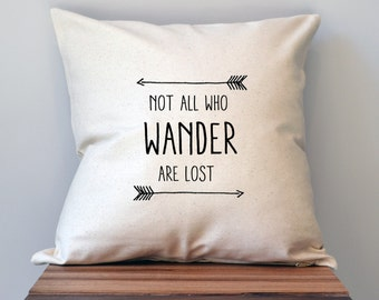 Lord Of The Rings Not All Who Wander Pillow Cover, 18 x 18 Pillow Cover, Lord Of The Rings Decor, Lord Of The Rings Gift, Graduation gift