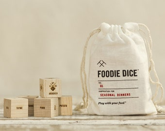 Foodie Dice® Seasonal Dinners Pouch / Laser engraved dice for cooking ideas / Hostess gift, Foodie birthday gift, for couples