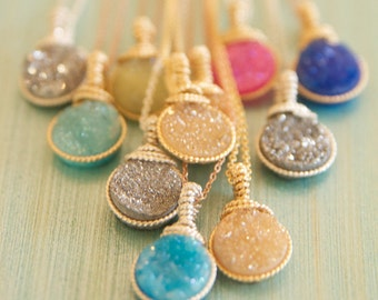 Dainty Druzy Pendant in Bright Colors Handmade by BareandMe on Etsy,Dainty Druzy Bridesmaid Necklaces for Bridesmaid, Bright Colored Jewelry