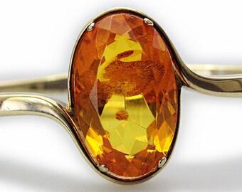 Vintage 1970s Natural quality Amber oval Diamond Cut Silver Bangle bracelet Gold filled madam victorian design elegant 925