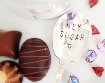 Hey Sugar Stamped Spoon. Hand Stamped Sugar Spoon. Sweetheart Gift. Gift for Him. Gift for Her. Monogrammed with Initial. 490SP