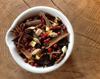 No.3 Winter Chai - loose leaf - Cinnamon - Cardamon - Orange Peel - Pink Peppercorns - Star Anise - Cloves - Ginger root.-60g