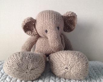Grey & yellow giant elephant hand knitted big snugly animal, handmade animal softies