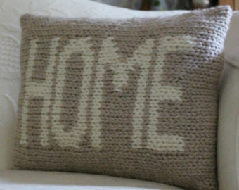 "Pillow KNITTING PATTERN / ""Home"" / Cushion / Quick Knit / Super Bulky Yarn / PDF instant download / Two Color Intarsia Knitting"