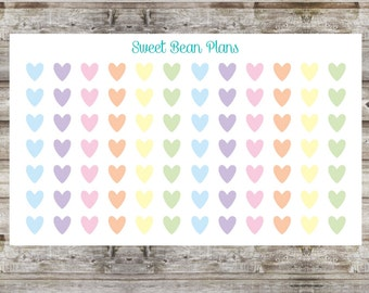 80+ Pastel Hearts Planner Stickers