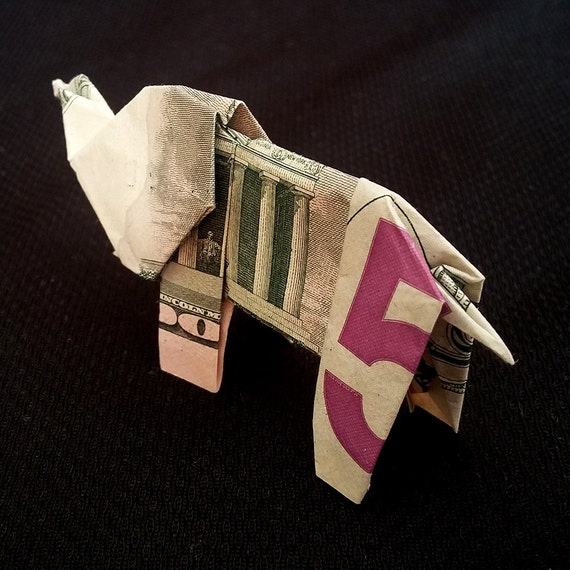 How to make origami elephant out of money - photo#47