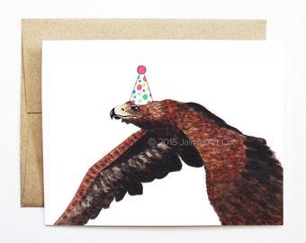 Birthday Card - Hawk, Animal Birthday, Animal Card, Cute Greeting Card, Kids Birthday Card, Baby Birthday Card, Blank Hawk Card
