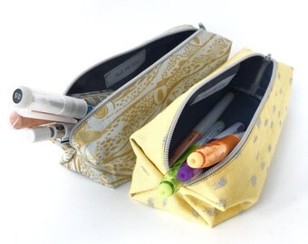 The Gold Foil Fish and Yellow Patch Pencil Case - Jewlery Pouch/Cosmetic Pouch/Travel Accessory/Artist Case/Back to School/Blue and Bleu
