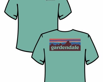"Green ""GARDENDALE"" Tee with Blue/Red Accents"