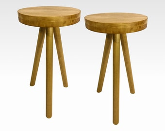 Modern Side Table Nightstand Set of 2 Pair Wooden Stool, Choose Finish by Candlewood Furniture