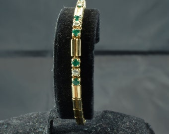 Emerald Diamond and Gold Bar Link Bracelet