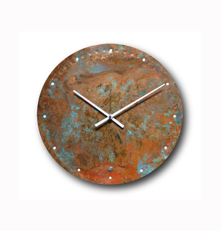 patina copper clock wall clock home decor original clock. Black Bedroom Furniture Sets. Home Design Ideas