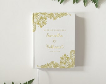 Gold Lace Wedding Guest Book Modern Wedding Guestbook Custom Wedding Guest Book - Personalized Wedding Guestbook - Wedding Keepsake