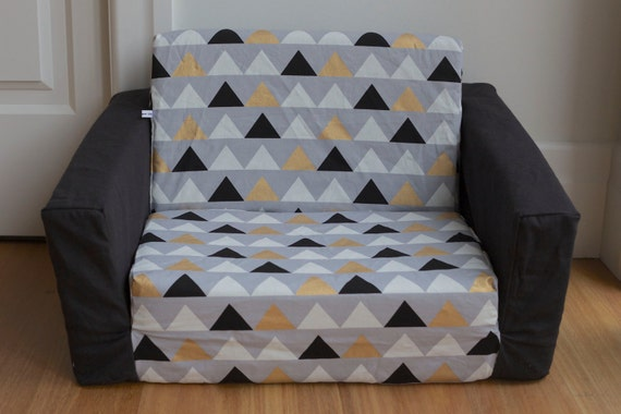 kids flip out sofa cover black white gold geo triangles on. Black Bedroom Furniture Sets. Home Design Ideas