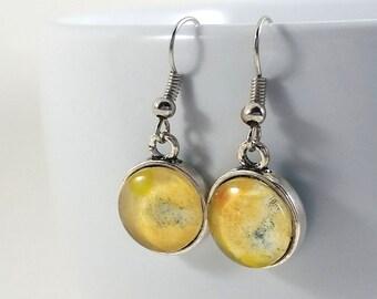 Orange and Blue Watercolor Silver Dangle Earring Set #SDE13