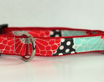 Red & Teal Floral Dog Collar | Dog Collar for Girls | Floral Leash | Step In Harness  | Floral Harness | Personalized Dog Collar