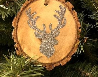 Silver Deer Head with Antlers Silhouette Christmas Ornament ~ Set of 4