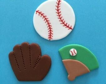 12 Baseball Cupcake Toppers-Fondant
