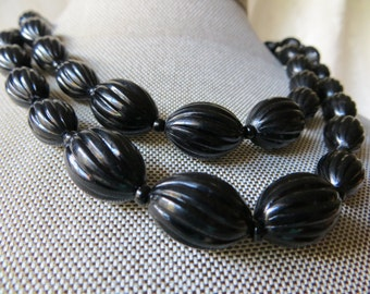 Black Bead West Germany Vintage  Two-Strand Choker Necklace