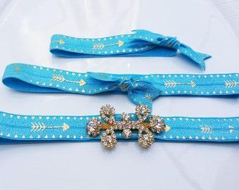 Set of 3 - Blue elastic headbands - Hair Tie - Gift set - Girls headbands - Girls hair tie - Rhinestone elastic headbands - arrow headbands