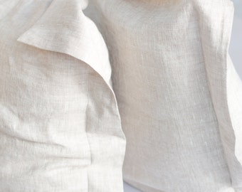 Elegant Oxford linen pillowcase, white and oatmeal linen pillowcase, pure linen pillowcase, softened linen pillowcase