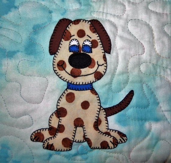 Dog or puppy PDF applique pattern; farm animal quilt block pattern; pet applique nursery quilt; baby or kid's quilt pattern