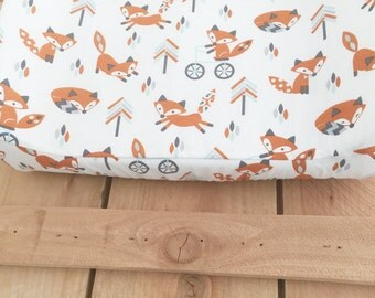 Changing Pad Cover Fox Tribal -- Contoured Changing Pad Cover Woodland Neutral