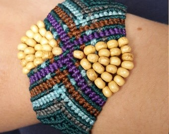 Wood Bead Macrame Bracelet