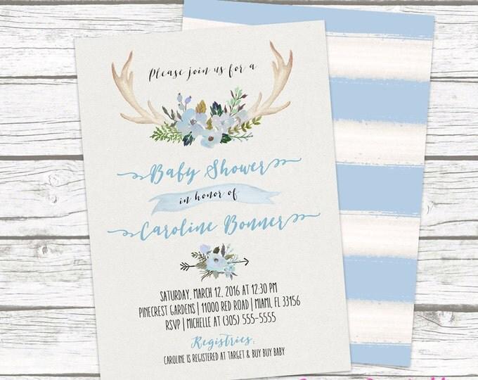 Boy Boho Baby Shower Invitation, Blue Floral Antler Tribal Watercolor Invite, Aztec Western Southwestern Bohemian, Matching Back Printable