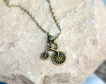 Bicycle necklace Bicycle jewelry Bike necklace Bronze necklace Bike jewelry Cyclist Gift Brass Necklace Vintage Necklace Brass jewelry Charm