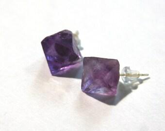 Purple Fluorite Octahedra Earrings