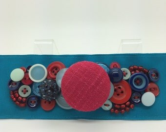 BUTTON GROSGRAIN RIBBON Bracelet Turquoise Blue Red *Free Shipping*