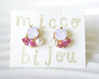 Swarovski Crystal Elements Earrings - Pink and parl