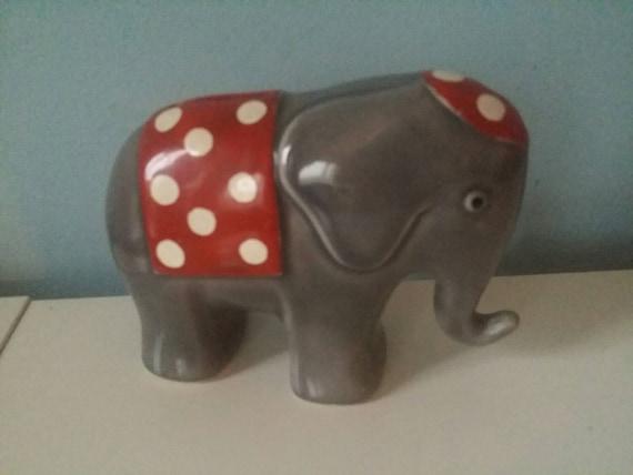 Elephant shaped ceramic piggy bank vintage by upcycledgadgets - Ceramic elephant piggy bank ...