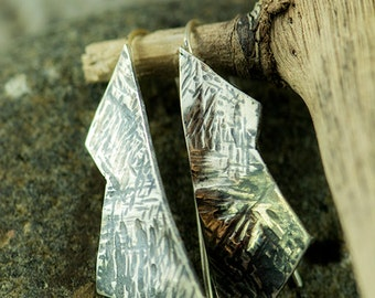 Hammer Textured Patinated Fixed Wire Earrings