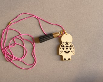 Little Paper Warrior Necklace (Pink)