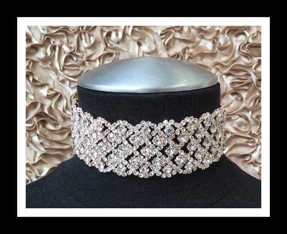 Rose Gold Diamond Rhinestone Choker #C105