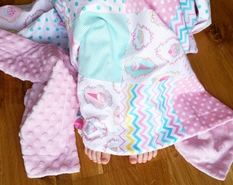 Baby Blanket Minky sweets patchwork Baby Blanket with Pink Dot Minky Back