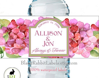 "Personalized Water Bottle Labels - 100% Waterproof, Polyester Labels - Wedding Favors 2""x8.5"" self-stick labels - Watercolor Hydragea Flower"