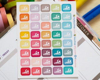40 Swimming Class Stickers // Swimming Lessons Stickers -  Stickers for Planner