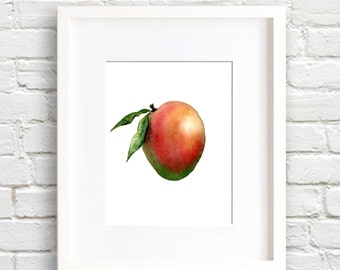 Mango Art Print - Kitchen Wall Decor - Watercolor Painting