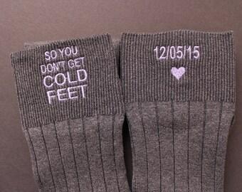 So You Don't Get Cold Feet Groom Socks, Grey or Black Groom Wedding Gifts. cold foot socks. Personalise Socks. groom gift from bride. F2