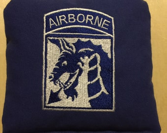 Embroidered 18th Airborne Corps Corn Hole Bags ACA/ACO Specs (Set of 4) (your choice of Colors & design)
