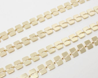 N0026/Anti-Tarnished Gold Plating Over Brass/Square Chain Chain/6x4mm/1yard