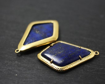 P0251/Anti-Tarnished Gold Plating Over Brass+ Lapis/Rhombus Lapis Pendant/23x35mm/2pcs