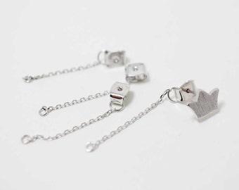 B0010/Anti-tarnished Rhodium Plating Over Brass/Chain Earring Back Clutch/5x34mm/10pcs
