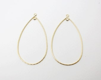 P0299/Anti-Tarnished Matte Gold Plating Over Brass/Teardrop Pendant Connector with 2 rings Large/30x 51mm/2pcs