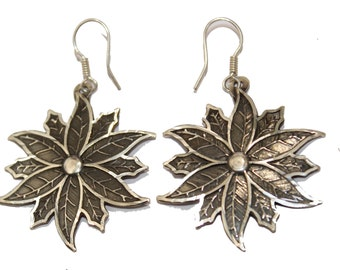 Poinisettia .950 Fine Silver Dangle Earrings - Flower Dangle Earrings