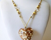 ON SALE Vintage 1950s Big Italian Murano Glass Puff Heart Necklace 51716