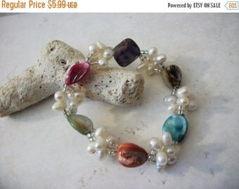 ON SALE Vintage 1950s Faux Pearls Colorful Shell Bracelet 10416